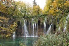 Foresta, cascata e fiume del parco nazionale di Plitvice Fotografia Stock Libera da Diritti
