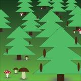 Foresta con i funghi eps10 Illustrazione Vettoriale