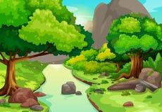 Foresta con un fondo del fiume Immagine Stock