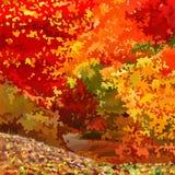 Foresta decidua variopinta luminosa di autunno di astrazione del fondo illustrazione vettoriale
