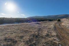 Foresta del campo e della montagna al tramonto Fotografia Stock