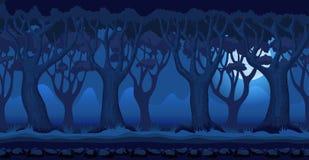 Foresta del fumetto al fondo illuminato dalla luna del video gioco di notte Fotografia Stock