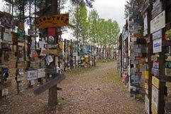 Foresta del segno della strada principale dell'Alaska Fotografia Stock Libera da Diritti