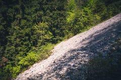 Foresta delle montagne di vista aerea e paesaggio delle pietre Immagine Stock