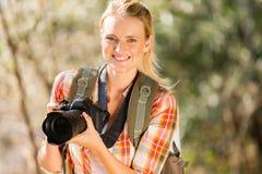 Foresta di autunno della donna Fotografia Stock Libera da Diritti