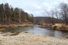 Foresta di autunno ed il piccolo fiume di Kizil nella località di soggiorno di Abzakovo, Russia immagine stock