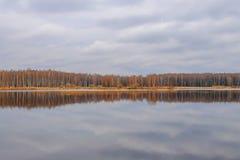Foresta di autunno riflessa in lago Immagini Stock