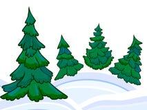 Foresta di conifere del fumetto ed i cumuli di neve di inverno Immagini Stock Libere da Diritti