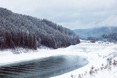 Foresta di conifere e lago della montagna con paesaggio innevato Fotografie Stock