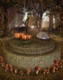 Foresta di fantasia con i funghi illustrazione di stock