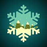 Foresta di inverno in confine di forma del fiocco di neve Immagine Stock