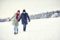 Foresta di inverno della neve della donna dell'uomo delle coppie Fotografie Stock Libere da Diritti