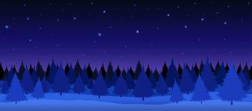 Foresta di inverno di notte Fotografia Stock