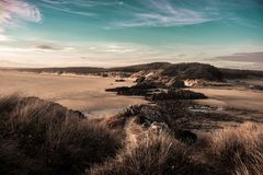 Foresta di Newborough & la costa di Anglesey fotografia stock