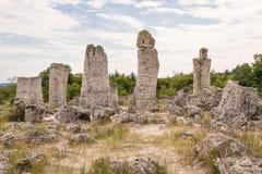 Foresta di pietra vicino a Varna, Bulgaria Pobiti Kamani Immagini Stock