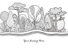 Foresta disegnata a mano fantastica grafica Fotografie Stock Libere da Diritti
