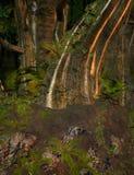 Foresta dorata incantata illustrazione vettoriale