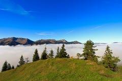 Foresta e alta montagna con nebbia durante l'autunno Immagini Stock Libere da Diritti