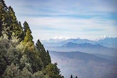 Foresta e alte montagne con neve Immagini Stock Libere da Diritti