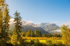 Foresta e montagne di autunno con le nuvole ad alba Fotografia Stock Libera da Diritti