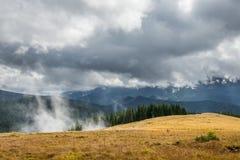 Foresta e nuvole in alta montagna Fotografia Stock Libera da Diritti