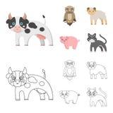 Foresta, ecologia, giocattoli e l'altra icona di web nel fumetto, stile del profilo Animali, azienda agricola, icone di imprese n Fotografia Stock