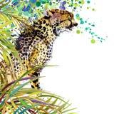 Foresta esotica tropicale, foglie verdi, fauna selvatica, ghepardo, illustrazione dell'acquerello natura esotica insolita del fon illustrazione di stock