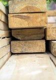 Foresta, fasci lunghi per la costruzione piegata insieme Fotografia Stock