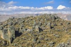Foresta Huaraz Perù della pietra di Hatun Machay immagine stock