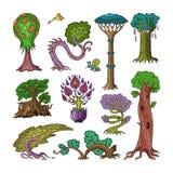 Foresta magica di fantasia di vettore dell'albero con le cime d'albero del fumetto e l'insieme magico di silvicoltura dell'illust illustrazione vettoriale