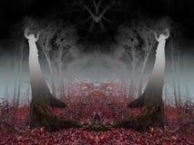 Foresta nebbiosa di orrore con altri elementi del mondo Immagine Stock Libera da Diritti