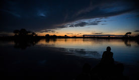 Foresta pluviale di Amazon di tramonto Fotografia Stock Libera da Diritti