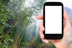 foresta pluviale turistica del photographswet in Dazhai Immagine Stock Libera da Diritti