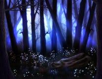 Foresta scura con nebbia ed alberi spaventosi su Halloween illustrazione di stock
