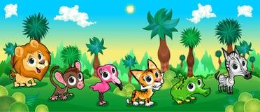 Foresta verde con gli animali selvatici royalty illustrazione gratis