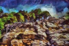 Foresta verde della pittura a olio nelle rocce Fotografie Stock