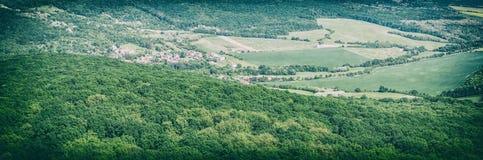 Foresta verde stagionale con il villaggio, filtro analogico immagini stock