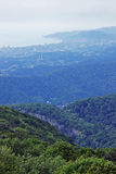 Forested Caucasian mountains and coast of Black sea Stock Image