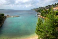 Forested Cliffs on Hvar Island,Croatia Stock Photos