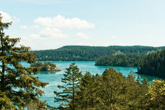 Forested Coastline with Islands. Scenic view of rugged, lush, evergreen forested coast, including islands, turquoise water, and blue sky.  Pacific Northwest Royalty Free Stock Images