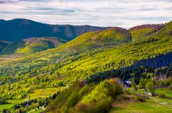 Forested hills of Carpathian mountains in spring. Lovely nature scenery with village in valley Royalty Free Stock Images