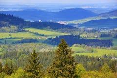 The forested, hilly landscape near Hartmanice, Sušice, Šumava, Czech Republic Stock Photo