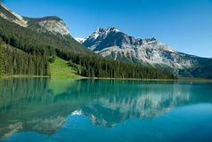 Forested landscape with mountain lake Stock Photography