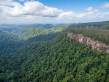Forested mountains and rugged cliffs. Forested mountains and rugged cliffs at Springbrook National Park, Queensland, Australia Royalty Free Stock Images