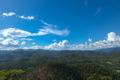 Forested mountains and sky. Royalty Free Stock Photos