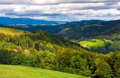 Forested rolling hill on a cloudy day. Lovely nature scenery of mountainous countrye. gorgeous weather early in the autumn Stock Image