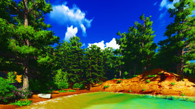 Forested shore over ocean Royalty Free Stock Photo