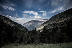 Forested valleys between the mountains. andorra Royalty Free Stock Image