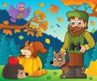 Forester и тема 1 животных осени иллюстрация вектора