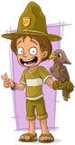 Forester шаржа милый с птицей иллюстрация вектора